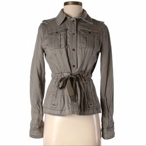 Anthropologie Gray Cotton Utility Jacket Size 10